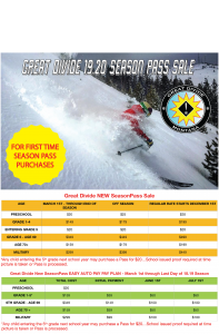Great Divide 19-20 Season Pass Sale for new pass holders